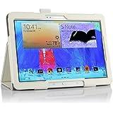 IVSO Slim-Book Funda de Cuero con Soporte para Samsung Galaxy Tab S 10.5 Tablet - con Card Holder, Hand Strap y Auto Sleep/Wake Function (Blanco)