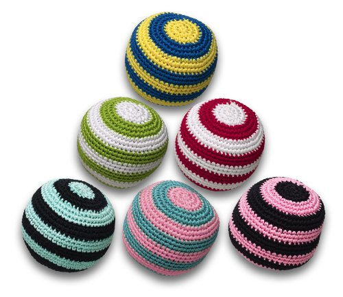 Crochet Striped Ball with Squeaker Dog Toy