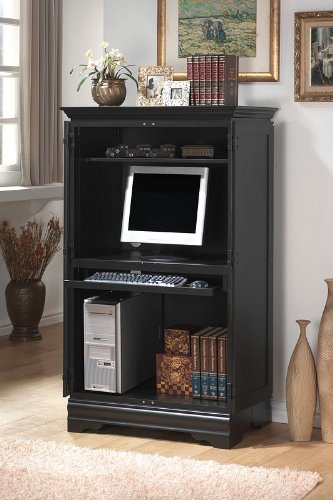 Buy Low Price Comfortable Contemporary Black Computer Cabinet Armoire Desk Workstation (B000STLYU8)