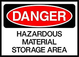 Hazardous Material Storage Area Danger OSHA / ANSI LABEL DECAL STICKER 18 inches x 24 inches