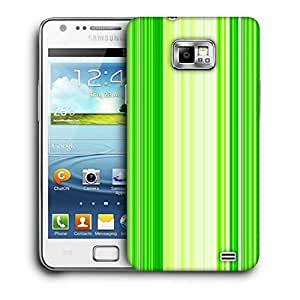 Snoogg Green Strips Printed Protective Phone Back Case Cover For Samsung Galaxy S2 / S II
