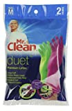 Mr. Clean 243093 Duet Reusable Latex Gloves, Medium, 2 Pairs/2 Colors