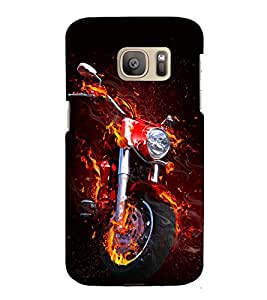 Fiery Bike 3D Hard Polycarbonate Designer Back Case Cover for Samsung Galaxy S7 :: Samsung Galaxy S7 G930F :: Samsung Galaxy S7 Duos G930FD