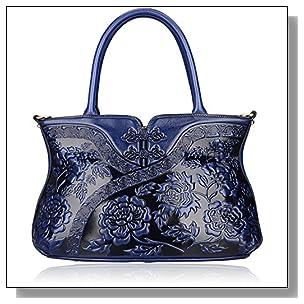 Pijushi Designer Cheongsam Flower Style Lady Tote Handle Handbag Womens Shoulder Bag for All Occasion 22332 (Blue)