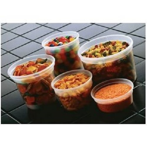 100-piece Plastic Clear Deli Container Combo / 10 SETS each 8-12-16-24-32 oz Delitainer w/ Signature Party Picks (Assorted Deli Containers compare prices)