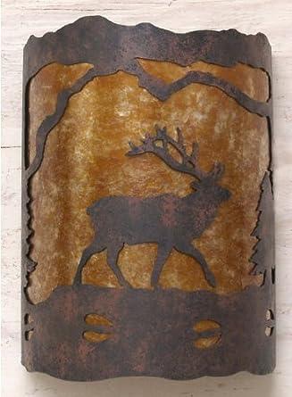 Rustic Elk Wall Light - Custom Made in USA - Wall Sconces - Amazon.com
