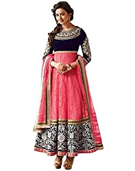 Ustaad MultiColor Net Embroidered Dress Material