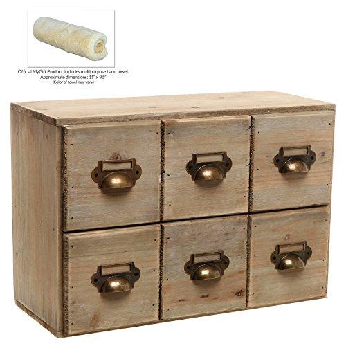 Vintage Style Brown Unfinished Wood 6 Drawer Cabinet box / Decorative Organizer / Desk Storage - MyGift®