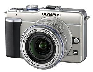 Olympus PEN E-PL1 Systemkamera (13 Megapixel, 6,9 cm (2,7 Zoll) Display, Bildstabilisator) champagner mit 14-42mm Objektiv silber