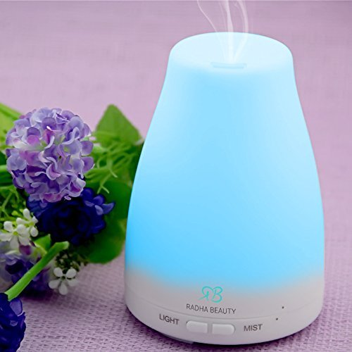 Aromatherapy Essential Oil Diffuser 7 colors - 120 ml Compact Ultrasonic Cool Mist Aroma Humidifier with changing Colored LED Lights, Waterless Auto Shut-off and Adjustable Steam up mode