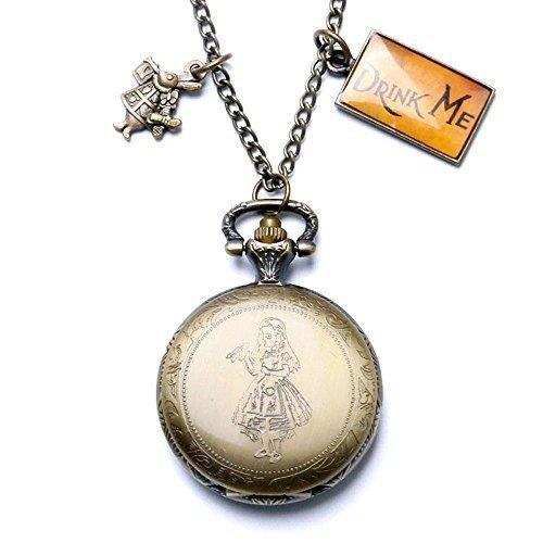 """XIGEYA quarzo Stile Vintage, motivo: """"Alice nel Paese delle Meraviglie-Collana con ciondolo a forma di orologio da tasca, con confezione regalo"""