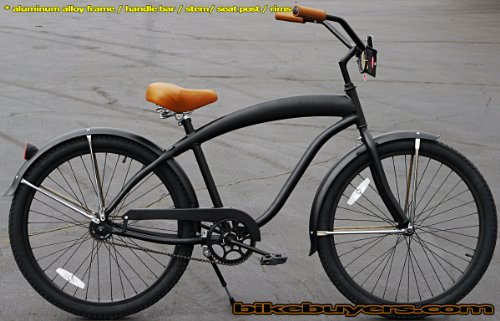 Aluminum frame, Fito Modena Alloy 1-speed All Matte Black men's Beach Cruiser Bike Bicycle Micargi Schwinn Nirve Firmstrong