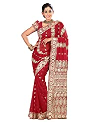 Designer Evoking Red Colored Embroidered Faux Georgette Saree By Triveni