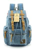 BLUBOON(TM) Vintage Men Casual Canvas Leather Backpack Rucksack Bookbag Satchel Hiking Bag