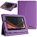 Evecase Leather Cover Protector Case with Stand for Acer Inconia Tab A110 Mini 7-inch Tablet - Purple