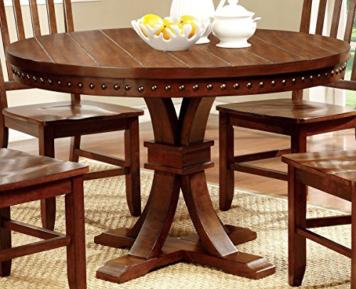 Furniture of America Castile Transitional Round Dining Table, Dark Oak (Round Dining Table Set For 4 compare prices)