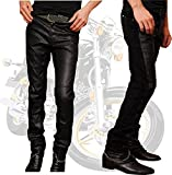 (LStage) フェイク レザーパンツ バイカー ライダー ウェア おしゃれ ブレスレット セット/ メンズ ファッション 服 パンツ 切替え スリム コーデ (34インチ) [並行輸入品]