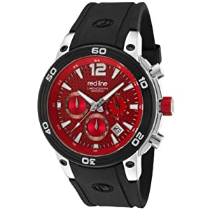 red line Men's 50033-55 Mission Chronograph Red Dial Black Silicone Watch