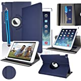 SAVFY New Apple iPad Air (2013 Version) Dark Blue Premium PU Leather 360 Degree Rotating Stand Smart Case Cover Skin 2 Card Slots for Apple iPad Air with Built-in Magnetic Auto Sleep Wake Feature, EXTRA Gift: SAVFY Stylus Pen + SAVFY Screen Protector Film (Available in Multiple Colors)