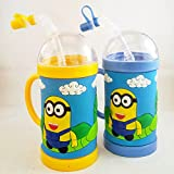 Satyam Kraft Kids Minion Plastic Bottle With Cork And Strew Special For Rakshabandhan Gift (450 Ml) - Pack Of 2