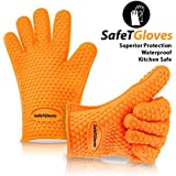 SafeT Glove Silicone Heat Resistant Oven Gloves For Cooking Grilling BBQ Use As Potholder Mitts
