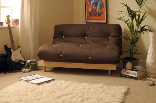 4ft6 (135cm) Double Wooden Futon with CHOCOLATE Mattress