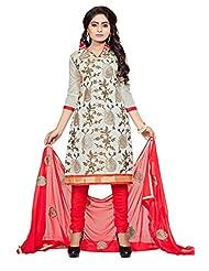 Divya Emporio Unstitched Cotton Silk Salwar Suit Dupatta(DE-017_Off-White)