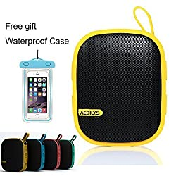 AEDILYS® Design Ultra-portable Outdoor Wireless Bluetooth Speaker with Lanyard,hd Voice, IPX4 Waterproof ,TPU Cover Anti-shock with Carabiner and Micro USB Cable Works for All Bluetooth Devices