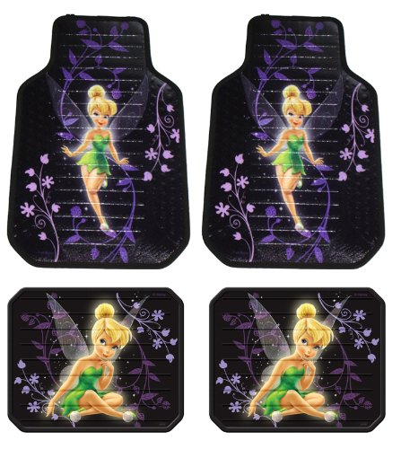 Tinker Bell Mystical Fairy Disney Front & Rear Car Truck SUV Seat Rubber Floor Mats - 4PC (Tinkerbell Car Floor Mats compare prices)