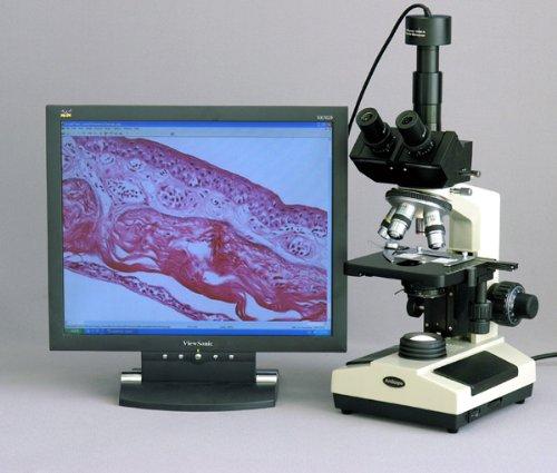 Amscope T420A-P 40X-1600X Trinocular Compound Microscope + Camera + Box