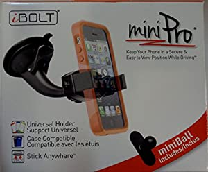 iBOLT miniPro Window / dash car mount for iPhone 5, 5c, 5S, iPhone 6, 6s Samsung Galaxy S6 edge S5 S4, Note 3, 4 & HTC One M8, works with protective cases.