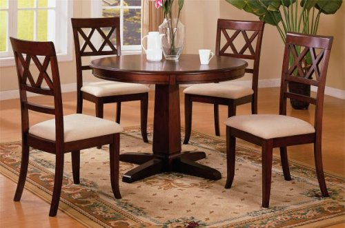 Buy Low Price AtHomeMart 5pc Contemporary Style Round Pedestal Dining Table