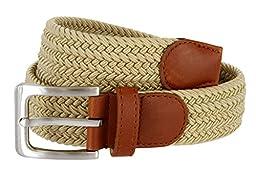 CTM® Mens Elastic Silver Buckle with Tan Tabs Braided Stretch Belt, Medium, Beige