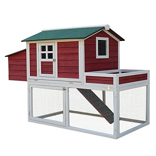 "Pawhut 63"" Farmhouse Wooden Chicken Coop with Display Top, Run Area and Nesting Box"