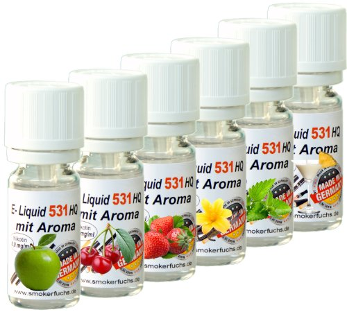 6x 10ml E-Liquid No. 531 HQ 6er Mix -Deutsche Produktion- Apfel, Vanille, Kirsche, PinaColada, Erdbeere, Minze – 0,0mg Nikotin –