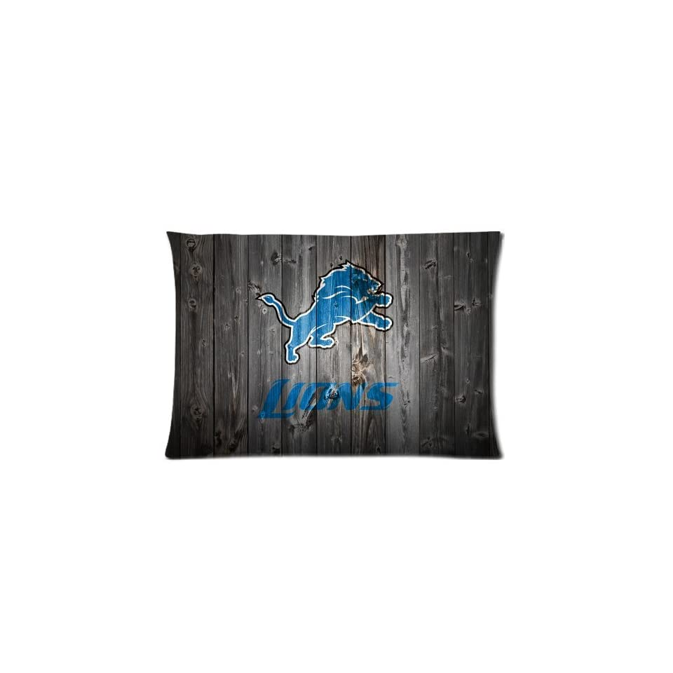 Detroit Lions Pillow Case   One Side, 20x30 inch Wood Look NFL Detroit Lions Pillowcase Rectangle Pillow Covers