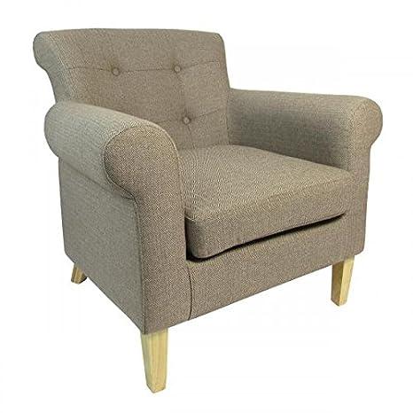 Shankar Pittsburgh Herringbone Brown Fabric Armchair