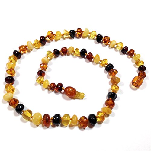 "Hazelaid (TM) 12"" Pop-Clasp Baltic Amber Multicolored Necklace"