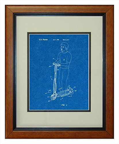 "Hoverboard Goped Electric Scooter Patent Art Blueprint Print In A Honey Glazed Wood Frame (11"" X 14"")"
