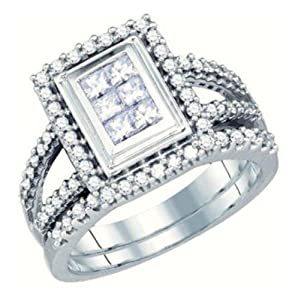 Pricegems 14K White Gold Ladies Princess Diamond Invisible Set Bridal Ring Size: 5.5)