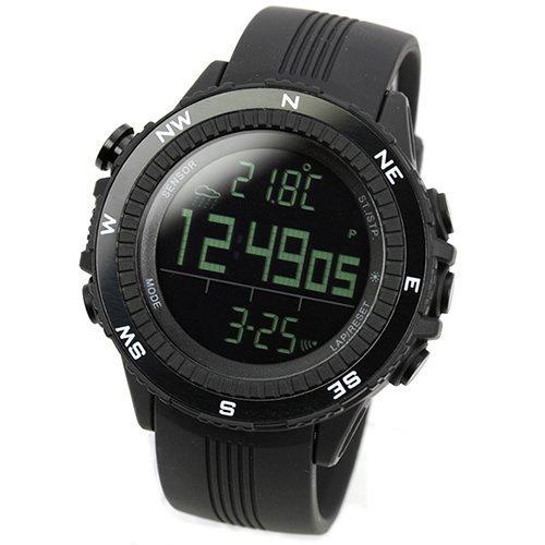 [Lad Weather] Watches German Sensor Digital Quartz Compass Altimeter Barometer Chronograph Countdown Timer Lap Time Alarm Outdoor Sport (Climbing/ Hiking/ Running/ Walking/ Camping) Men Women Black