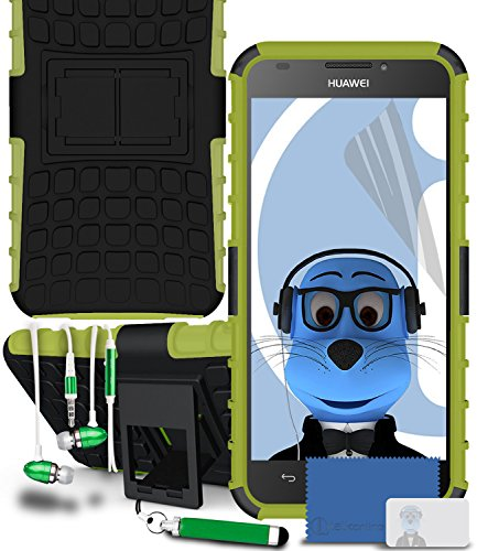 iTALKonline Huawei Ascend G620s Green Black Tough Hard Shock Proof Rugged Heavy Duty Case Cover with Viewing Stand LCD Screen Protector Headphone mount 3.5mm Retractable Mini Stylus Pen and 3.5mm Stereo HandsFree Headphones with Mic