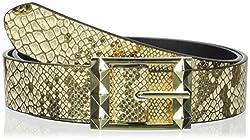 Betsey Johnson Women's Snake Reversible Pant Belt, Gold/Black, Medium