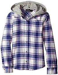 Derek Heart Big Girls\' Hooded Plaid Flannel, Navy, Large