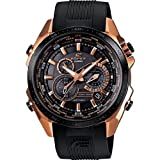 Casio EQS500CG-1A Men's Edifice Black X Tough Solar Black Dial Black Bezel Rose Gold Tone Stainless Steel Chronograph Watch