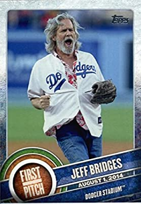 2015 Topps Baseball First Pitch Insert # FP-01 Jeff Bridges - Los Angeles Dodgers - MLB Trading Card In a Protective Screwdown Case!