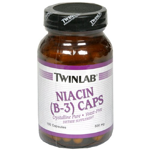 TwinLab Niacin (B-3) Capsules, 500 mg, 100-Count Bottles (Pack of 4)