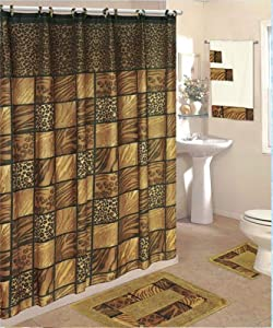 18 piece Bath Rug Set-shower curtain & towels- Leopard
