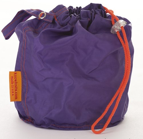 Purple Medium GoKnit Pouch Project Bag w/ Loop & Drawstring by KnowKnits