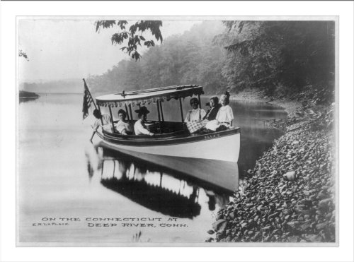Boat with 6 passengers on the Connecticut River at Deep River, Conn.